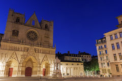 Lyon Cathedral in France Stock Images