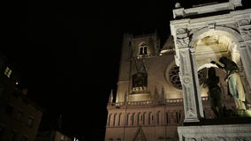 Lyon Cathedral panning stock footage