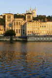 Lyon Cathedral and Saone river Royalty Free Stock Images