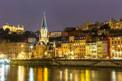 Lyon Church Night Royalty Free Stock Photography