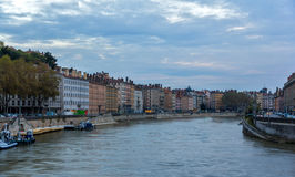 Lyon city on banks of Saone river Stock Images