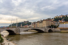 Lyon city on banks of Saone river - France Stock Photos