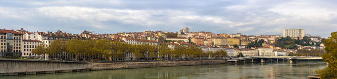 Lyon city on banks of Saone river, France Royalty Free Stock Images