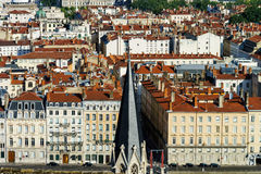 Lyon city bird-fly view from the hill Royalty Free Stock Photos