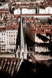 Lyon city bird-fly view from the hill Stock Image