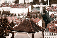 Lyon city bird-fly view from the hill Royalty Free Stock Photo