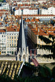 Lyon city bird-fly view from the hill Royalty Free Stock Image