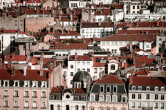 Lyon city bird-fly view from the hill Stock Photos