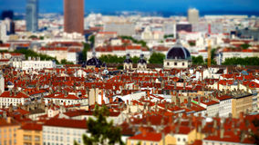 Lyon city bird-fly view in tilt-shift Royalty Free Stock Photos