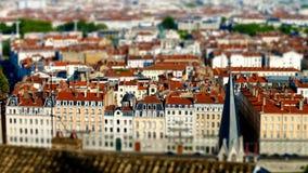 Lyon city bird-fly view in tilt-shift Stock Image