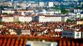 Lyon city bird-fly view in tilt-shift Stock Images