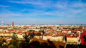 Lyon city bird-fly view in tilt-shift Royalty Free Stock Photography