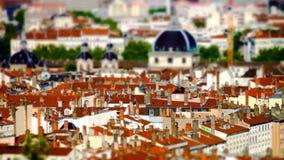 Lyon city bird-fly view in tilt-shift Stock Photo