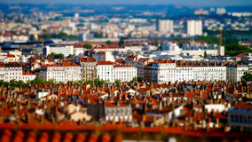 Lyon city bird-fly view in tilt-shift Royalty Free Stock Images