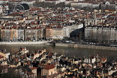 Lyon City center. Saone river in Lyon City center seen from the top of the hill of Fourviere Stock Image