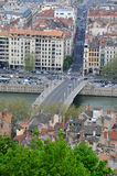 Lyon City Center. Saone river in Lyon City center seen from the top of the hill of Fourviere Royalty Free Stock Images