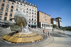 Lyon city fountain Royalty Free Stock Image