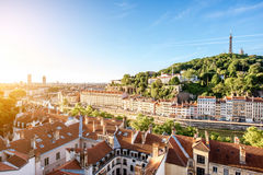 Lyon city in France. Morning aerial cityscape view with beautiful old buildings and metallic tower on the mountain in Lyon city in France Royalty Free Stock Photo
