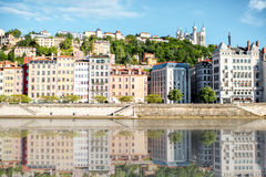 Lyon city in France. Morning view on the riverside with beautiful buildings in the old town of Lyon city Royalty Free Stock Photos