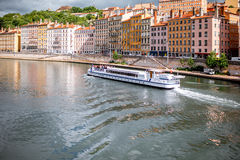 Lyon city in France. View on Rhone river and the old town in Lyon city in France Royalty Free Stock Photography