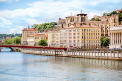 Lyon city in France. View on Rhone river and the old town in Lyon city in France Stock Photos