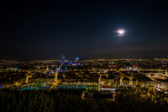 Lyon city panorama by night a day of full moon, great ! Stock Photos