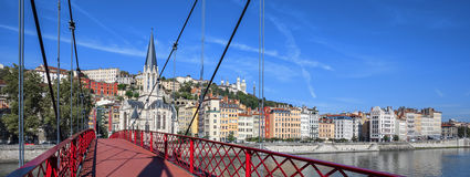 Lyon city with red footbridge on Saone river Stock Photos