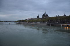 The Lyon City and The River Rhône. Royalty Free Stock Photos