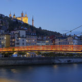 Lyon city with Saone river Stock Images