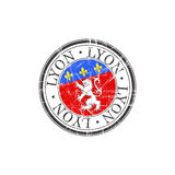 Lyon city stamp Royalty Free Stock Photos