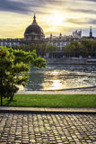 Lyon city at sunset with Rhone river Royalty Free Stock Image