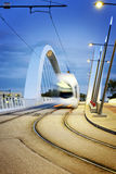 Lyon city and tramway on the confluences bridge Stock Photography