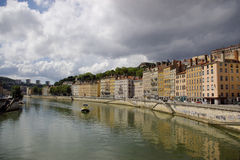 Lyon city waterfront. Scenic view of modern building on Rhone or Saone river waterfront in city of Lyon, France Stock Images