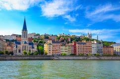 Lyon cityscape från den Saone floden Arkivfoton