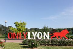 Lyon cityscape with Only Lyon sign Royalty Free Stock Images