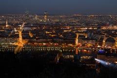 Lyon cityscape by night Royalty Free Stock Photos