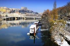 Lyon Croix Rousse och Rhône flod Arkivfoto