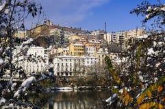 Lyon Croix Rousse och Rhône flod Fotografering för Bildbyråer