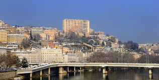 Lyon Croix Rousse and Rhone river Stock Photo