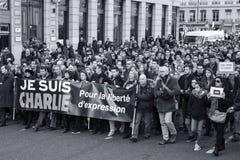 LYON 11 DE JANEIRO DE 2015: Anti protesto do terrorismo Fotografia de Stock