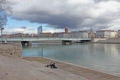 Lyon, de rivier de Rhône stock afbeelding