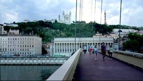 Lyon delante de Fourviere, Francia almacen de metraje de vídeo