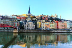 Lyon e o rio Saone Imagens de Stock Royalty Free