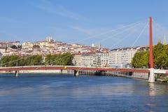 Lyon e Saone River imagens de stock royalty free