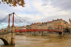 Lyon en de rivier Saone Stock Afbeeldingen