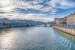 Lyon en de Rivier Saone, Frankrijk Stock Foto