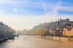 Lyon en de rivier Soane stock fotografie