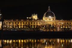 Lyon en la noche Foto de archivo