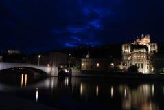 Lyon en la noche Fotos de archivo libres de regalías
