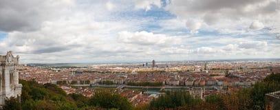 lyon för fourvierefrance kull panorama- sikt Arkivbild